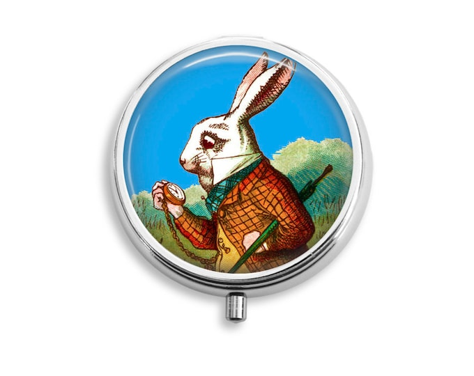 Pill Box Case Alice in Wonderland White Rabbit Silver Stash