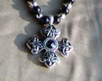 Black & Silver Cross Necklace