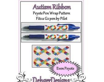 Bead Pattern Peyote(Pen Wrap/Cover)-Autism Ribbon