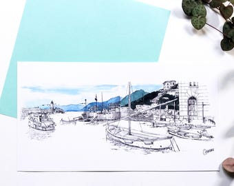 Map postcard Camogli, Italy Harbour illustration, drawing ink watercolor, ships, boats, drawn by hand, sea landscape views
