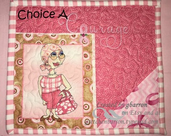 Breast Cancer Awareness, Survivor, Courage Mug Rug - Quilted and Embroidered -- Snack Mats, Mini Placemats, Centerpiece, Small Wall Hanging