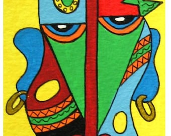 """ACEO Nr. 2 African Warrior... original painting, 2,5""""x3,5"""", 6,4 x 8,9 cm, acrylic on paper, africa, abstract, tradition, culture, head"""