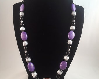 Purple and White Capture Necklace