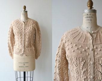 Idlewild cardigan | vintage popcorn knit sweater | cotton knit cardigan