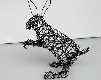 Unique Wire Sculpture - Rabbit Sculpture -  BIG EARS