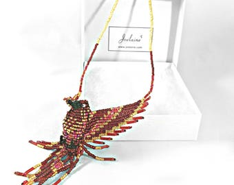 Phoenix Pendant Necklace Red Gold - Thunderbird Jewelry- Phoenix Jewelry - Firebird Jewelry - Phoenix Necklace - Glass Bead Bird Jewelry