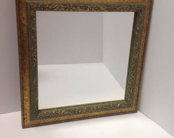 Midcentury green and gold square wall mirror, vintage gold and green wall mirror, midcentury accent wall mirror