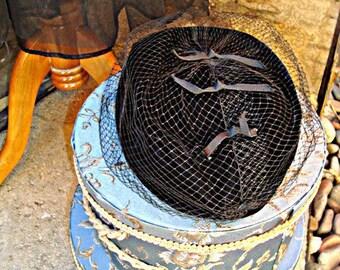 Black Velvet Pillbox Hat with Veil Vintage Millinery Workers Union