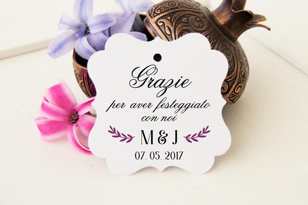 Favorito Etichette per Confetti Bomboniere Matrimonio Tag AX86
