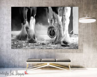 Horse Hoofs Print  | Horse Hoof Print | wall art | Animal wall art | Home Decor | Animal Print | Black & white Horse print