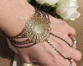 Sunburst Mandala Slave Bracelet, Ring Bracelet, Hippie Bracelet, Mandala Jewelry, Hand Chain, BodyJewelry Chain, Handflower, chain ring