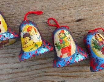 4 Vintage Decoupage Bells