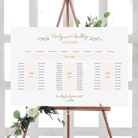 """Banquet Seating Plan, E Shape, Printable Template, 4 tables: Head table + 3 banquet tables, """"Greenery"""" 24x36"""", A1 sizes, Edit in ACROBAT"""