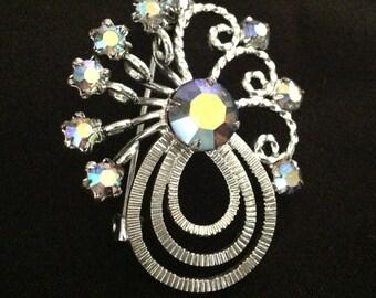 Vintage Swirl Brooch w/ AB Rhinestones