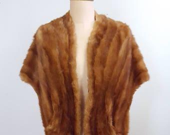Vintage 1950s Red Muskrat Fur Stole | Wrap | Shawl w Pockets | Size M