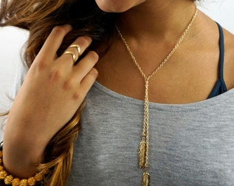 Feather Necklace layer Necklace Charm Necklace plume Necklace Gifts for her Gold plated Necklace Bohemian Long Chain Necklace