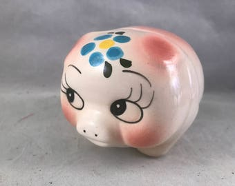Vintage Pink and White Pig with Blue Flower Piggy Bank