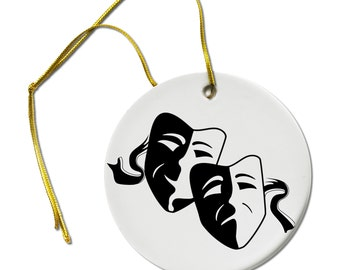 Comedy Tragedy Masks Theater Drama Thespian Ceramic Hanging Ornament