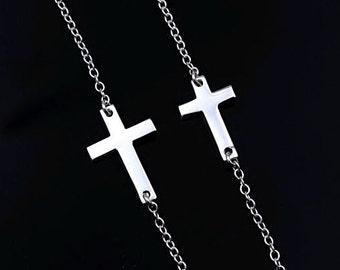 Mother Daughter Cross Necklace, Small and big Cross Necklace, Taylor Jacobson and Miley Cyrus Sideways Cross Necklace