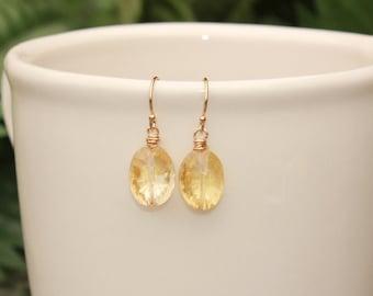 Citrine Earrings, November Birthstone, Simple Earrings, Yellow Gemstone, Natural Citrine Jewelry, Dangle, Drop, Minimalist Earrings