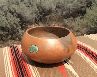 Southwestern New Mexico Micaceous Bowl with genuine turquoise stone