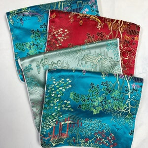 "Vintage SILK PURSES Chinese Brocade Jewelry Pouches 5x6"" pkg4"