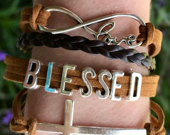 Blessed Infinity Bracelet, Leather Wrapped Bracelet Set, Wrapped Bracelet, Boho Bracelet, Boutique Bracelet, Personalized Bracelet, Cross