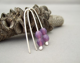 Handmade Hydrangea Purple Glass Earrings - Czech Glass and Sterling Silver Earrings