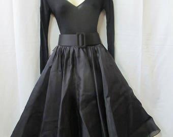 Vintage 80's BALLERINA Tom & Linda Platt Black Full Skirt DESIGNER Dance Dress