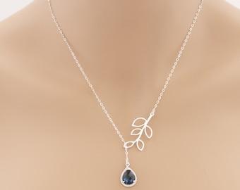 Lariat Silver Leaf Blue Sapphire Necklace Tear Drop Birthstone Birthdays Weddings Special Occasions