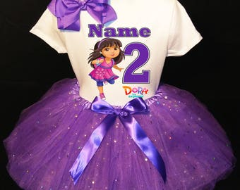 Dora The Explorer***With NAME*** 2nd Second 2 Birthday Dress Fast Shipping Party Shirt and Purple Tutu Outfit Personalized
