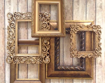 Coppery Gold Wall Frame Gallery - Picture Frames & Open Wall Frames - Set of 5