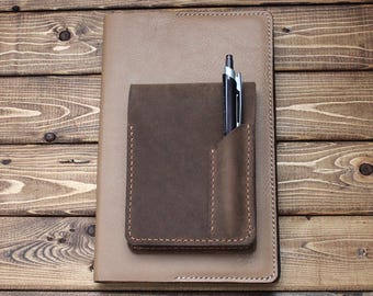 Rhodia Hand Stitched Leather Cover with a pen Pocket in Rustic Distressed Leather (Free Personalization) Great Gift