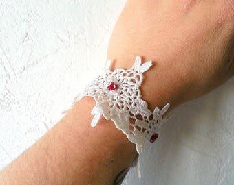 Lace bracelet cuff and Red swarovski beads