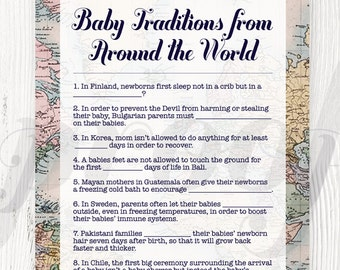 Baby Traditions Around the World Shower Game Printable, Baby Shower Games, Baby Traditions, Gender Neutral, Welcome to the World, Travel