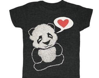 KIDS Panda Bear T-shirt-  Boy Girl Youth Children Toddler Animal Zoo China Asian Chinese Tee Shirt Cute Adorable Red Heart Love Black Tshirt