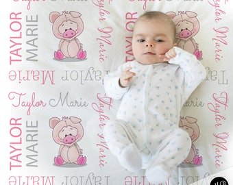 Pig baby blanket, baby girl personalized baby gift, farm name blanket, baby blanket, personalized blanket, piggy baby gift, choose colors