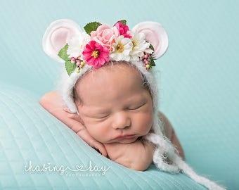 newborn bear bonnet RTS