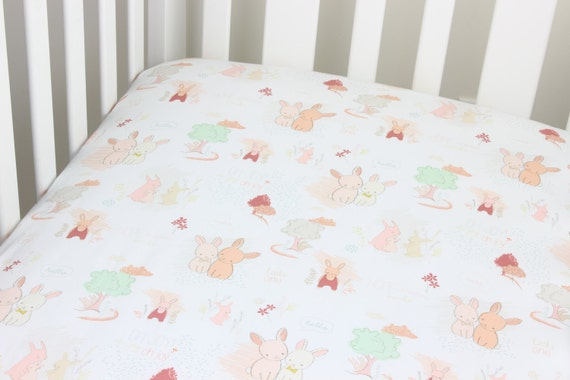 Peach and Mint Bunny Cotton Crib Sheet or Changing Pad Cover Baby Crib Light Coral and Mint Crib Sheet Contoured Boy Crib Sheet Girl Baby