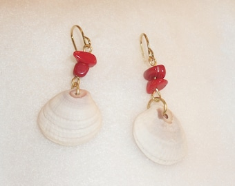 Natural Sea Shell and Genuine Coral Earrings