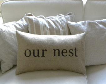 Burlap (hessian) Our Nest lumbar pillow cover