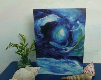 Ultramarinium ~ A5 Greeting Card ~ Sea ~ Mermaid ~ Fish ~ Nautical ~ Seascape ~ Mystical ~ Moonlight ~ Night ~ Waves ~ Cove ~ Birthday ~ Joy