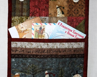 Christmas card letter holder quilted - CHRISTMAS SALE - 15% OFF