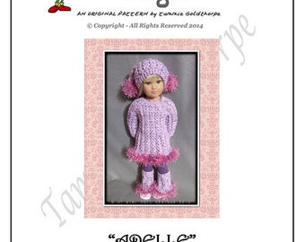 ADELLE  Original Knitting Pattern for Kidz'n'Cats 18 inch Play Dolls. INSTANT DOWNLOAD.