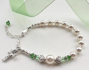 First Communion Rosary Bracelet, Irish Bracelet, Swarovski and Pearl, First Communion Gift for Girl