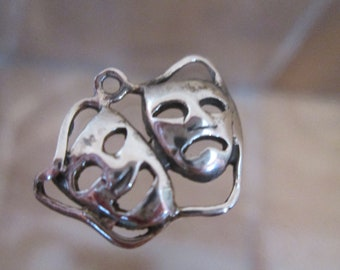 Sterling Silver Bracelet Charm,  COMEDY TRAGEDY, Theater Masks, Laugh Now Cry Later