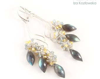 Primavera I - silver earrings with labradorite, apatite and quartz