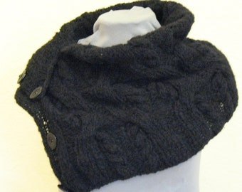 Short Scarf with Buttons Black Buttoned Scarflette with Toggles Striped Infinity