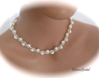Bridal Pearl Jewelry Set Wedding Necklace Bridal Jewelry Necklace and Bracelet Set