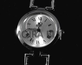 round silver watch dial quartz 56mm smooth